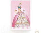 Marie Antoinette, card, patisserie, pink, French, birthday card, high tea, vintage style, cake card, crowned bee, pink card, card for her