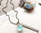 L i g h t...Aqua chalcedony necklace, Diamond Bar Charm, patina, boho, Sacral Chakra, energy, healing, brass necklace FREE SHIPPING