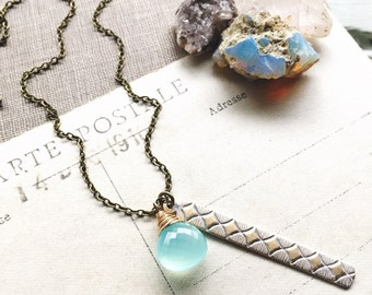L i g h t...Aqua chalcedony necklace, Diamond Bar Charm, patina, boho, Sacral Chakra, energy, healing, brass necklace FREE SHIPPING