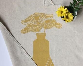 READY TO SHIP!! Golden Ochre Three Flowers in Art Deco Vase Block Printed Handmade Tea Towel-100% cotton
