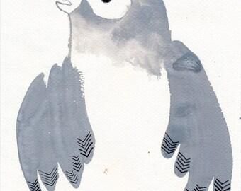 Grey Bird  / watercolour gouache original
