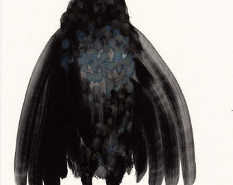 Black Bird / Gouache Original / gouache painting