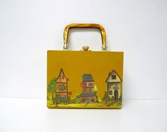 Village . 60s 70s decoupage wooden box . lucite handle bag