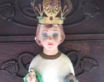 Vintage Infant of Prague Chalkware Statue with Filigree Brass Jeweled Crown, Made in Italy, With Green Chaplet, Chippy Shabby Chic for Altar