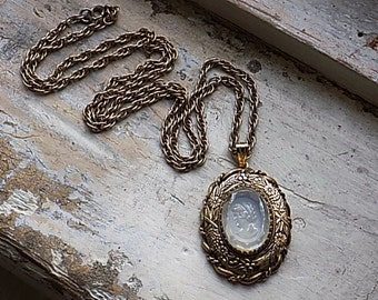 FREE SHIPPING Vintage Glass Cameo with Gold Tone Metal Chain Necklace