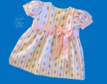 Infant Sewing Patterns - Classic Infant Dress Pattern with Puff Sleeves - Infant to Toddler Sewing Pattern PDF download