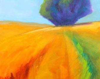 Large Landscape Painting, Original 24x30, Gallery Canvas, Minimalist, Semi Abstract, Tree Field, Blue Sky, Green Orange, Golden Meadow