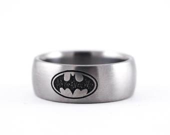 Titanium Batman Ring, Custom Batman Symbol Ring, Comic Book Jewelry, Marvel, Suicide Squad, Batman Ring, Super Hero, Nerd Wedding Ring,