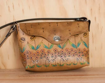 Brown Leather Crossbody Bag - Seeds Pattern with Flower Garden - Pink, Orange, Green and Antique Brown
