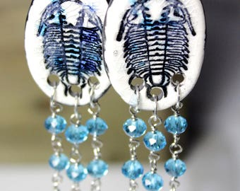 Trilobite Dangle Ceramic Earrings with Crystals