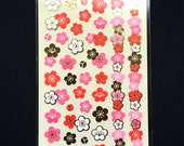 Plum Blossom Stickers - Japanese Washi Paper Stickers - Chiyogami Flower Stickers - Plum Blossom stickers -  (S139)
