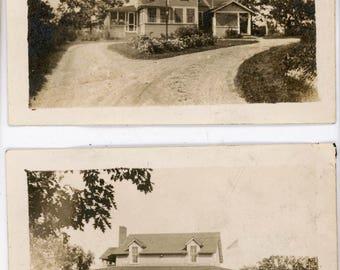 Vintage photo 1920 Orchard Lake Michigan Summer Mansion 2 photo lot