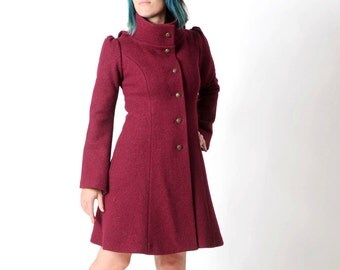 Dark red coat | Etsy