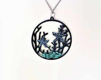 Under The Sea Necklace Ocean Life Scene Pendant Starfish Jewelry Coral Seaweed Silver Chain Coral Reef Charm Summer Beach Sea FREE SHIPPING