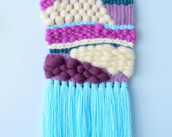 Small Woven Wall Hanging #12 (sky/violet) - tapestry fibre art wall art loom weaving home decor one of a kind wool roving yarn sweet purple