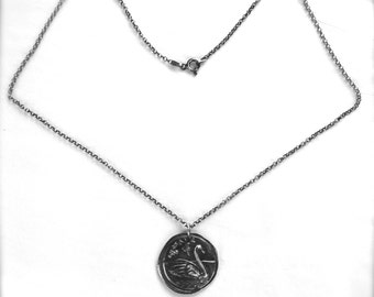 Graceful Swan and Rose Wax Seal Sterling Silver Necklace