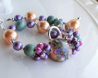 Lampwork Bracelet, Pearl Glass Lampwork Bracelet Purple Peach Green Pink Bead Bracelet, Floral Lampwork Jewelry, Silver Beaded Bracelet