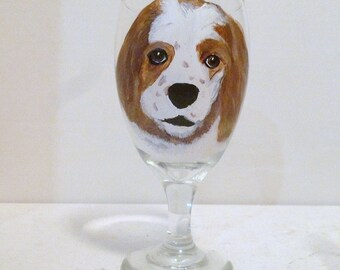 Hand Painted Buff Cocker Spaniel Dog Wine Glasses set of 2 Pet Lovers Boutique Artist Mary Wilson