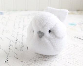 White Plush Bird White Bird Stuffed Animal Childrens Handmade Plush Toy Bubbletime Fleece Bird White Plush Bird