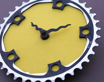 Bicycle Gear Clock - Yellow and Black | Bike Clock | Wall Clock | Recycled Bike Parts Clock | Cycling Gifts