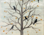 Print - Limited Edition - Fall Ravens - encaustic mixed media