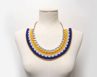 Crochet Chain Necklace Choker - Blue and Yellow Bib Necklace - silver metal chain and blue, yellow, grey cotton