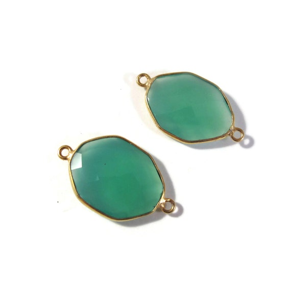 2 Green Onyx Pendants, Matched Pair of Gold Plated Irregular 26mm x 15mm Hexagon Bezel Pendants with Two Loops (C-Go4b)