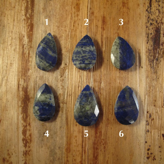 One Lapis Bead, Lapis Lazuli Focal Bead, Flat Briolette Pendant, Natural Lapis Lazuli, 30mm x 19mm, Jewelry Supplies (B-Lap2a)