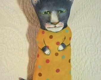 cat ooak art doll,  sandy mastroni , polka dots, wall art doll ,sweet cat,shelf art doll, kitty art doll
