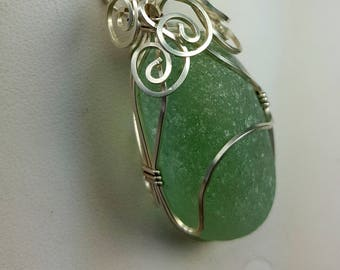 Sea Glass Necklace Sea Glass Jewelry Sterling Silver Necklace Aqua Sea Glass Necklace Wire Wrapped Sea Glass Pendant Gift for her N-512
