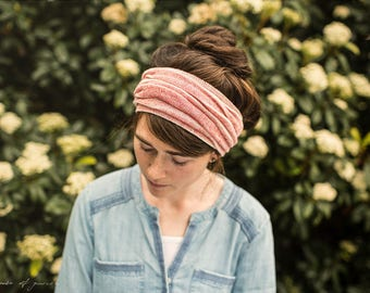 Heather Clay Stripe Cowl Headwrap - Garlands of Grace headband scarf convertible headcovering