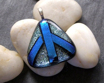 Peace Sign, Blue Silver fused dichroic glass pendant, necklace