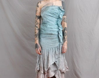 80's Mermaid Prom Dress in XS . Faded Seafoam and Gray Dress . Fishtail Dress . Strapless Tube Top . Frilly Pleated Gown . small petite