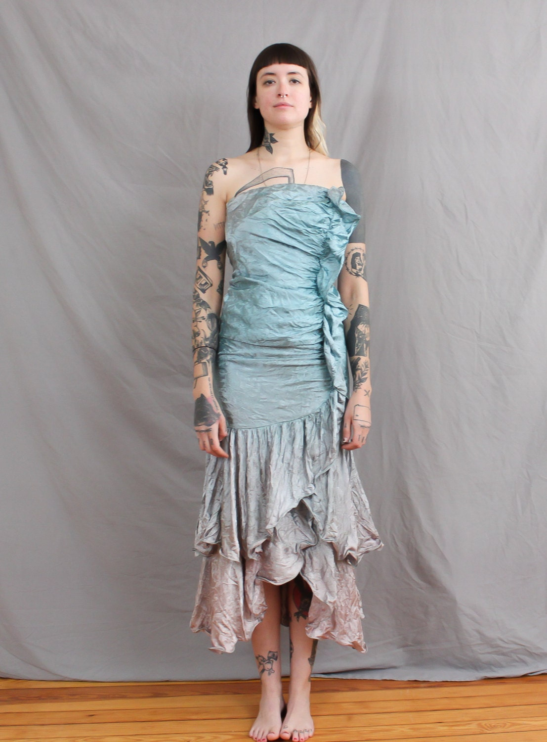 80\'s Mermaid Prom Dress in XS . Faded Seafoam and Gray