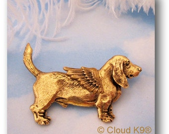 BASSET HOUND Guardian ANGEL Pin / Basset Hound Jewelry Gift for Dog Lovers by CloudK9 / Brooch for Pet Loss. Pet Memorial Sympathy Gift