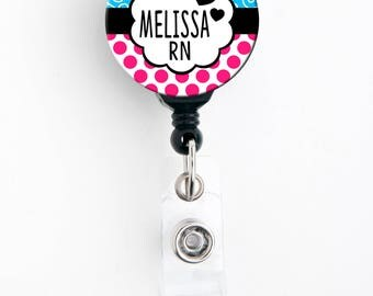 Retractable ID Badge Holder - Personalized Name - Bubble Blue Pink Polka Dot - Badge Reel, Steth Tag, Lanyard, Carabiner
