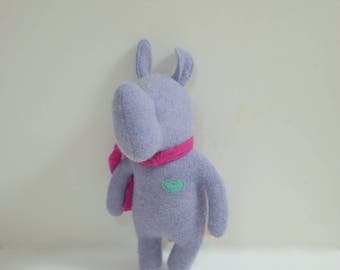 Handmade Rhino stuffed small animal light purple lilac Rhino doll eco toy upcycled wool sweater soft plush Rhino bubynoa Elifants&rhinos
