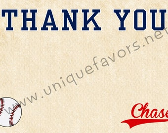 Baseball theme Thank You card Personalized. DIGITAL FILE ONLY. You print!