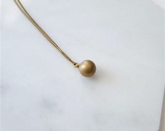 Brass Orb Necklace. Round Ball Charm. Geometric Necklace Under 50. Jewelry For Him Man. Minimal Jewelry. Gift for Girlfriend. Simple Sphere.