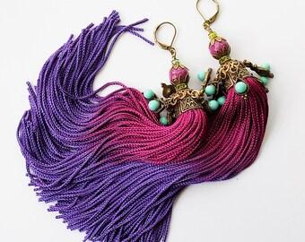 Tassel Earrings, Boho earrings, long earrings, gypsy earrings, purple earrings, tassle earrings, beaded tassel, earrings, hippie earrings
