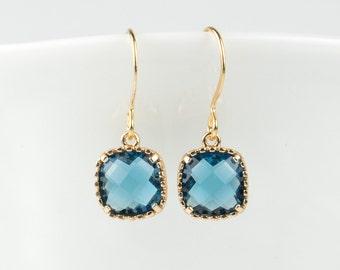 Navy Blue Gold Earrings, Navy Gold Square Earrings, Bridesmaid Earrings, Bridesmaid Jewelry, Dainty Earrings, Gold Earrings