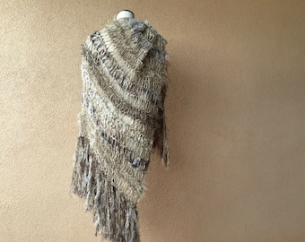 Blanket Scarf Style of Warm Shawl, Large Shawl, Taupe Brown Shawl Hand Knit for Women with Taupe and Black Long Fringe Wrap Beige Shawl