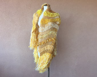 Yellow Scarf Shawl Yellow Accessories Wrap with Fringe. Large Shawl, Yellow Shawl with Canary, Mustard, Gold, Saffron, Marigold, Sunflower