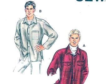 Mens Rustic Shirt Casual long sleeved style Camping Fathers Dads Husband Kwik Sew 2902 sewing pattern UNCUT Sz Sm to XL