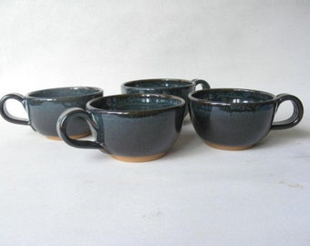 Pottery Cups 8 oz. Set of 4, Cappuccino Cups, Stoneware Cups Set of 4