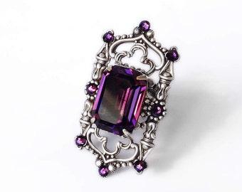 Purple Ring Swarovski Ring Octagon Ring Amethyst Swarovski Crystal Oxidized Silver Filigree Gothic Jewelry // Statement Cocktail Purple Ring