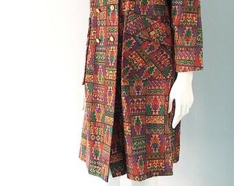 60s Mod Tribal Tapestry Coat s m