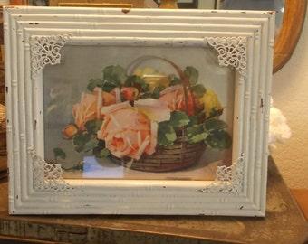 Framed Paul de Longpre print pink yellow roses shabby framed cottage print