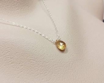 Tiny Zirconia Citrine Sterling Silver Necklace - November Birthstone, Handmade Necklace, Teardrop Zirconia, Birthday Gift