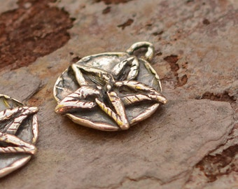 Sterling Silver Flower Charm, Poinsettia Charm, AD-588